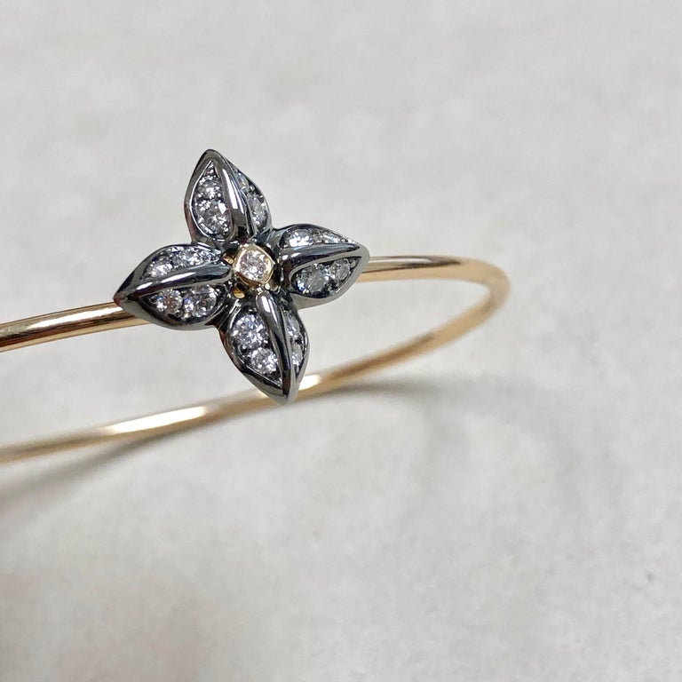 Women's Syna Oxidized Silver Yellow Gold Flower Bracelet with Champagne Diamonds For Sale