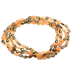 Syna Peach Moonstone Labradorite Pyrite Yellow Gold Bead Necklace