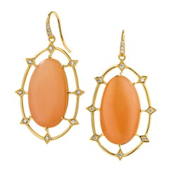 Syna Peach Moonstone Yellow Gold Earrings with Champagne Diamonds