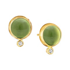 Syna Peridot Yellow Gold Baubles Earrings with Champagne Diamonds