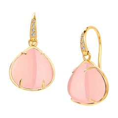 Syna Pink Chalcedony Yellow Gold Earrings with Champagne Diamonds
