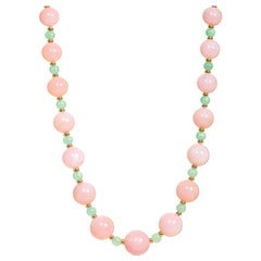 Syna Pink Opal and Chrysoprase Yellow Gold Bead Necklace