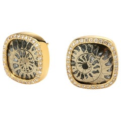 Syna Pyratized Ammonite Yellow Gold Earrings with Champagne Diamond