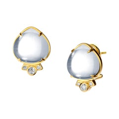 Syna Rock Crystal Earrings with Champagne Diamonds