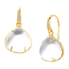 Syna Rock Crystal Yellow Gold Earrings with Champagne Diamonds