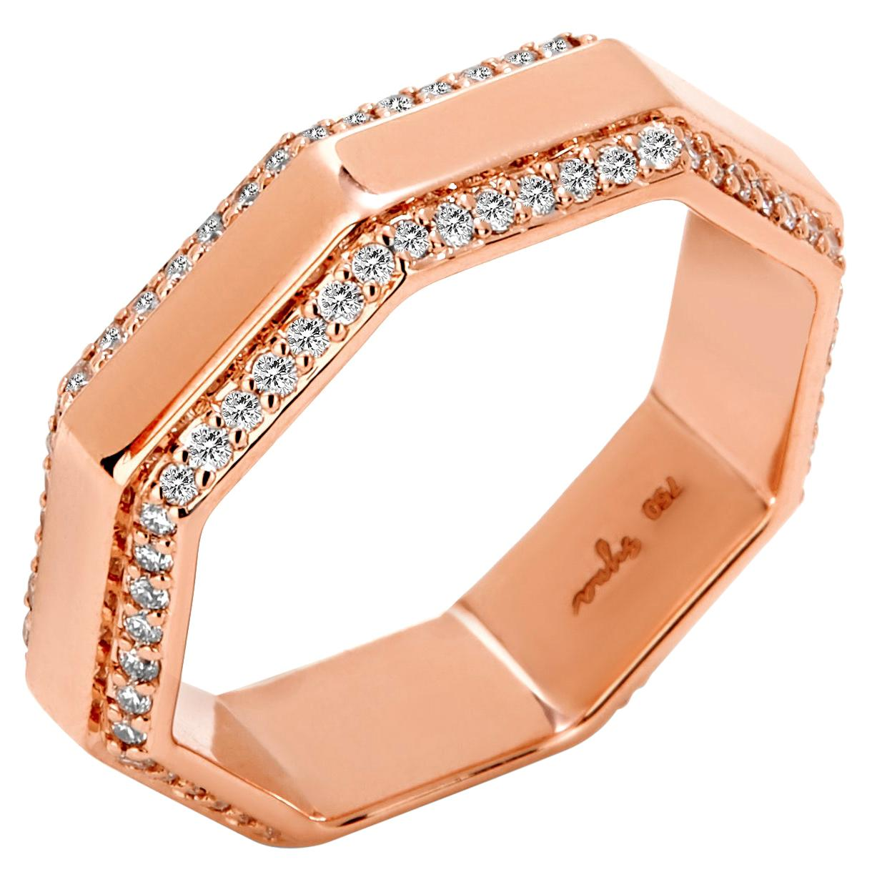 Syna Rose Gold Octagon Band with Diamonds