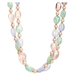 Syna Rose Quartz, Emerald, Blue Chalcedony and Pearl Yellow Gold Bead Necklace