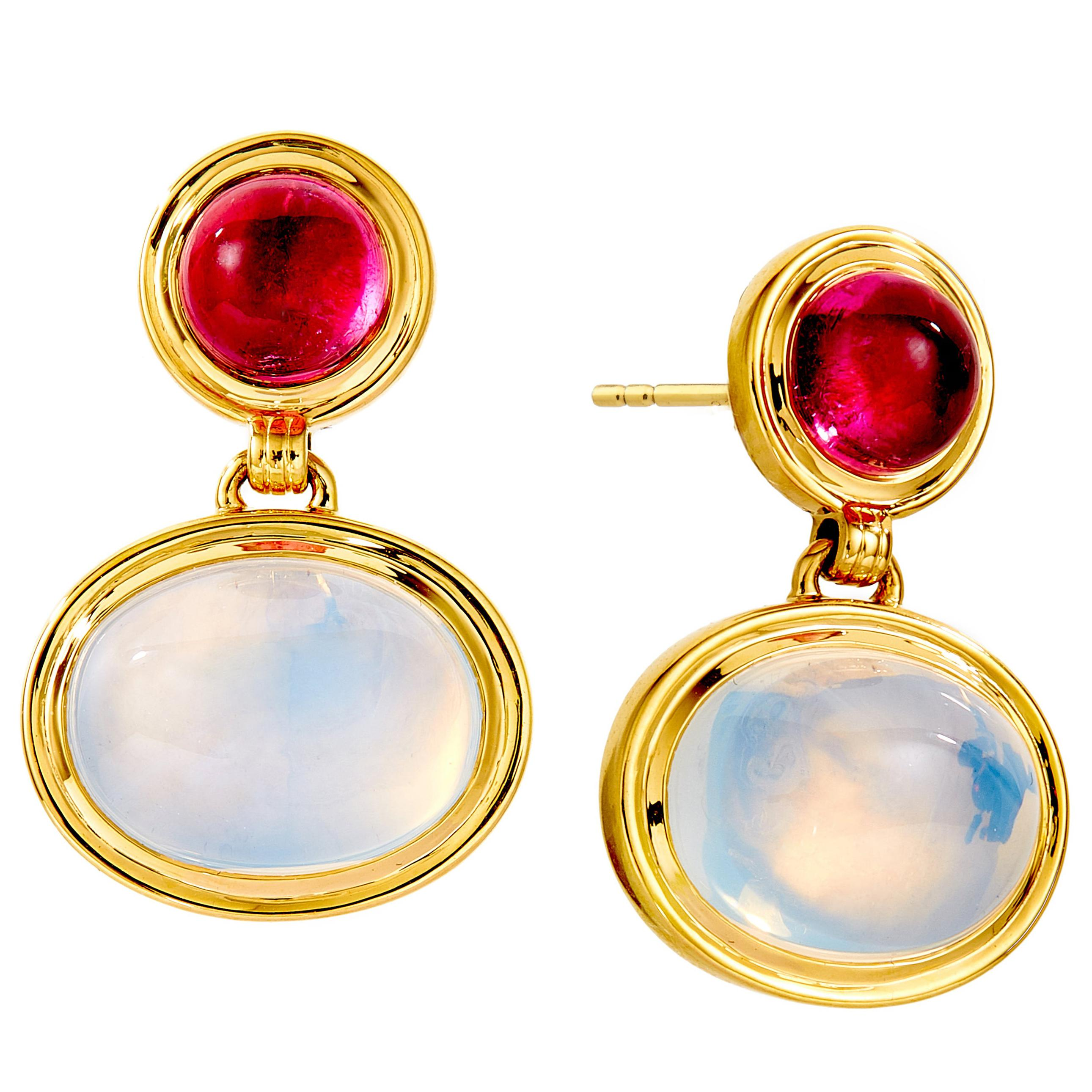 Syna Rubellite and Moon Quartz Earrings