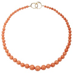 Syna Salmon Coral Yellow Gold Bead Necklace