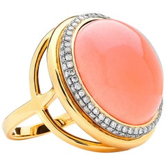 Syna Salmon Coral Yellow Gold Ring with Diamonds