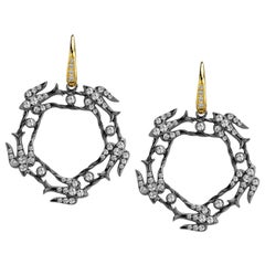 Syna Silver Swallow Earrings with Champagne Diamonds