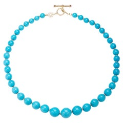 Syna Sleeping Beauty Turquoise Gold Bead Necklace