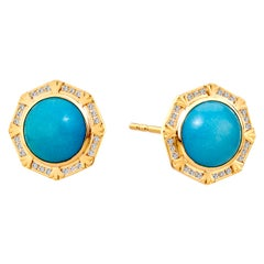 Syna Sleeping Beauty Turquoise Octa Earrings with Champagne Diamonds