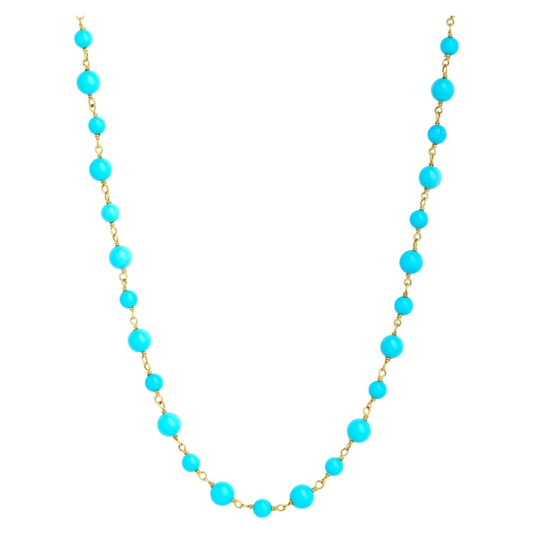 Syna Sleeping Beauty Turquoise Yellow Gold Necklace For Sale