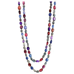 Syna Tourmaline Amethyst Labradorite Tanzanite Yellow Gold Bead Necklace