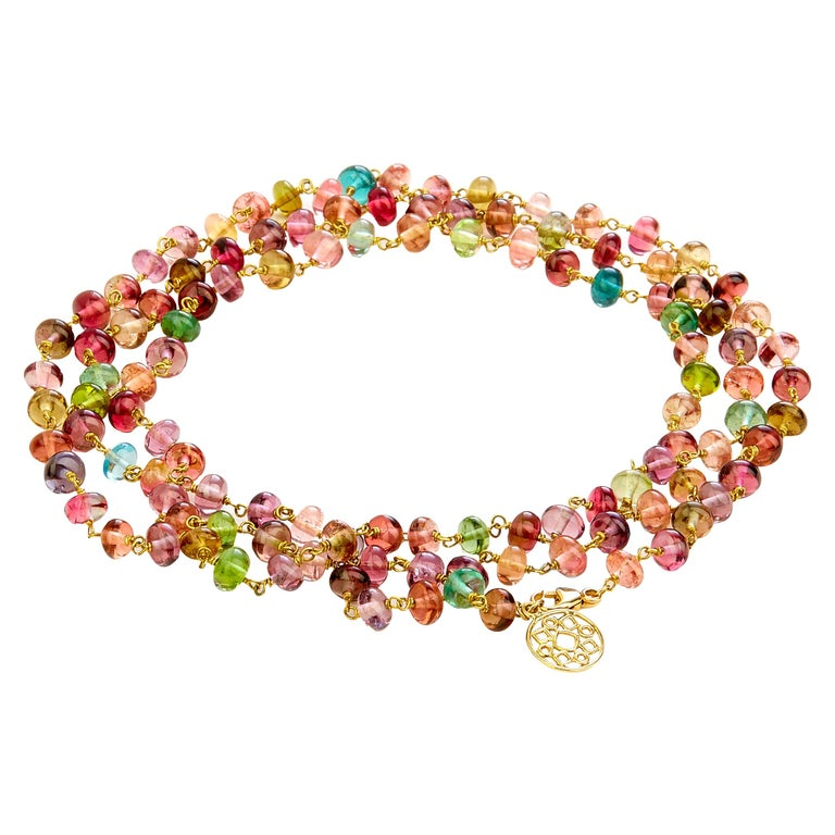 Syna Tourmaline Yellow Gold Bead Necklace For Sale