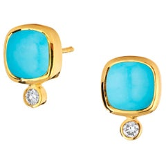 Syna Turquoise Yellow Gold Sugarloaf Earrings with Champagne Diamonds