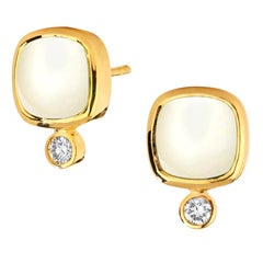 Syna White Agate Yellow Gold Sugarloaf Earrings with Champagne Diamonds