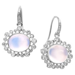 Syna White Gold Moon Quartz Earrings with Champagne Diamonds