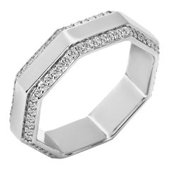 Syna White Gold Octagon Band with Diamonds