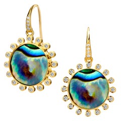 Syna Yellow Gold Abalone Earrings with Champagne Diamonds
