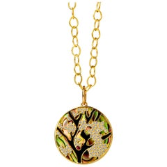 Syna Yellow Gold Abalone Pendant with Black Enamel and Champagne Diamonds
