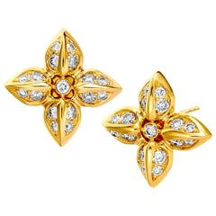 Syna Yellow Gold and Champagne Diamond Earrings