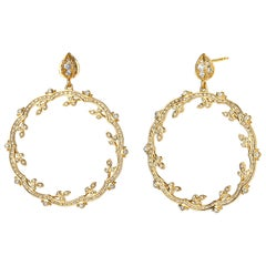 Syna Yellow Gold and Champagne Diamond Mogul Twine Earrings
