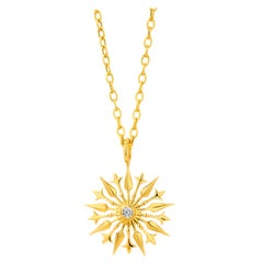 Syna Yellow Gold and Champagne Diamond Starburst Pendant