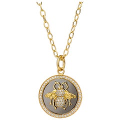 Syna Yellow Gold and Oxidized Silver Bee Pendant with Champagne Diamonds