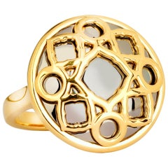 Syna Yellow Gold and Oxidized Silver Big Mogul Ring