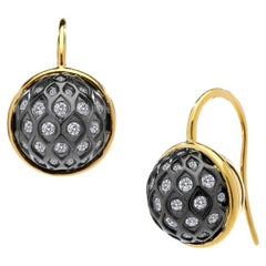 Syna Yellow Gold and Oxidized Silver Earrings with Bright Champagne Diamonds