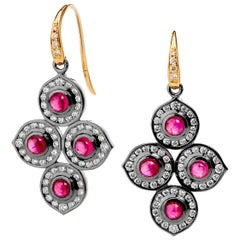 Syna Yellow Gold and Oxidized Silver Earrings with Rubies and Champagne Diamonds