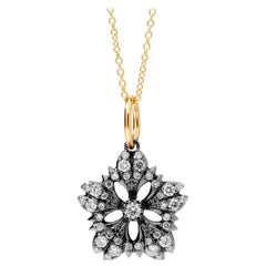 Syna Yellow Gold and Oxidized Silver Flower Necklace with Champagne Diamonds