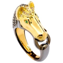 Syna Yellow Gold and Oxidized Silver Horse Ring with Champagne Diamonds