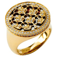 Syna Yellow Gold and Oxidized Silver Mogul Leaf Ring with Champagne Diamonds