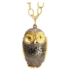 Syna Yellow Gold and Oxidized Silver Owl Pendant with Champagne Diamonds