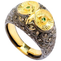 Syna Yellow Gold and Oxidized Silver Owl Ring with Champagne Diamonds