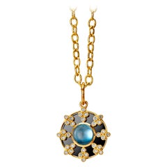 Syna Yellow Gold and Oxidized Silver Pendant with Topaz and Champagne Diamonds