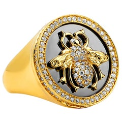 Syna Yellow Gold and Oxidized Silver Queen Bee Ring with Champagne Diamonds