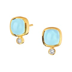 Syna Yellow Gold Aquamarine Sugarloaf Earrings with Champagne Diamonds