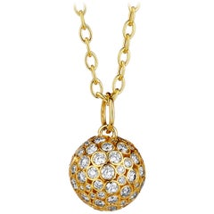 Syna Yellow Gold Ball Pendant with Champagne Diamonds