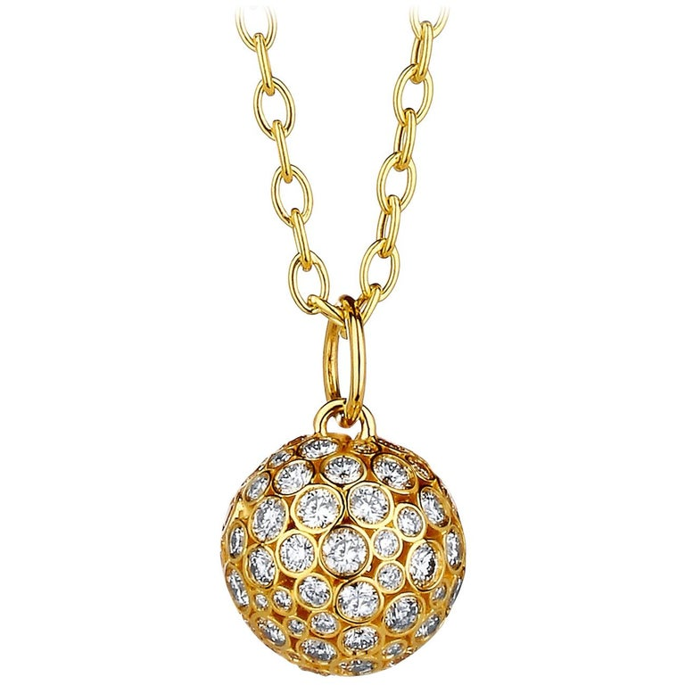 Syna Yellow Gold Ball Pendant with Champagne Diamonds For Sale