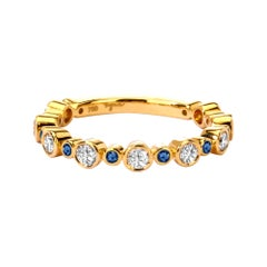 Syna Yellow Gold Band with Blue Sapphires and Champagne Diamonds