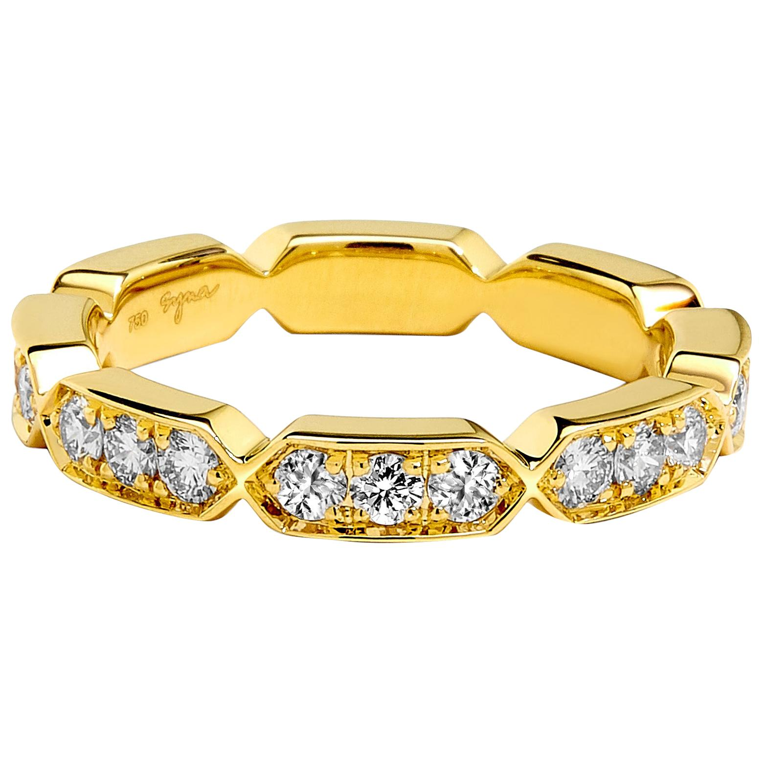 Syna Yellow Gold Band with Champagne Diamonds