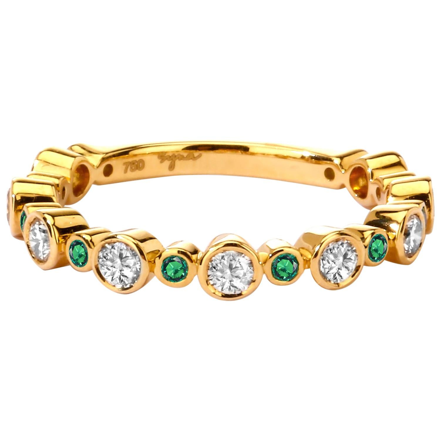 Syna Yellow Gold Band with Emeralds and Champagne Diamonds