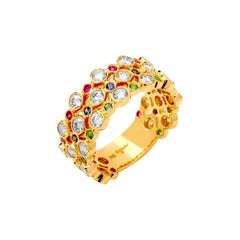 Syna Yellow Gold Band with Emeralds, Rubies, Sapphires and Champagne Diamonds