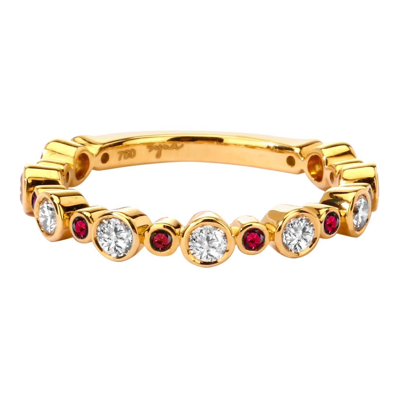 Syna Yellow Gold Band with Rubies and Champagne Diamonds