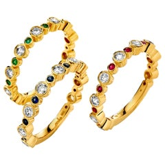 Syna Yellow Gold Bands with Emerald, Ruby, Sapphire and Champagne Diamonds