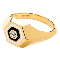Syna Yellow Gold Black and White Enamel Ring with Champagne Diamonds